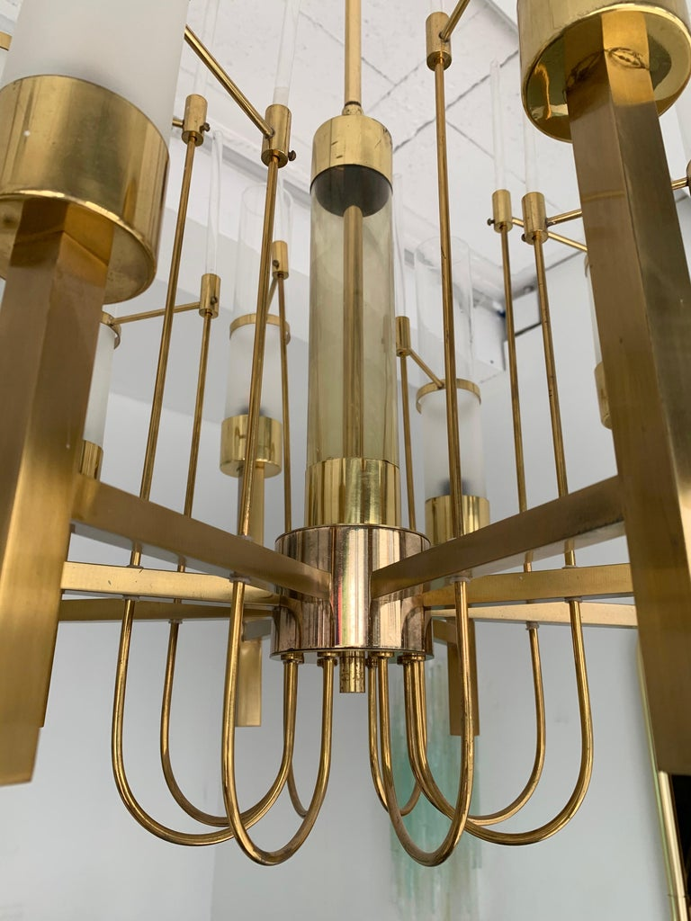 Italian Brass and Glass Chandelier by Sciolari, Italy, 1960s