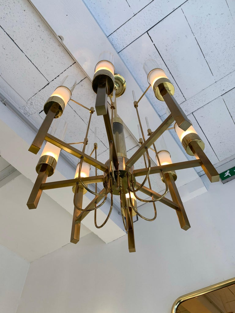Brass and Glass Chandelier by Sciolari, Italy, 1960s 1