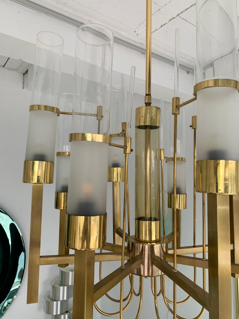 Brass and Glass Chandelier by Sciolari, Italy, 1960s 2