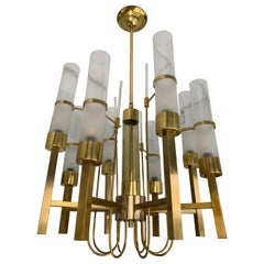 Brass and Glass Chandelier by Sciolari, Italy, 1960s