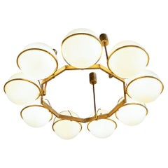 Brass and Glass Chandelier from the Grand Hotel President, 3 Available