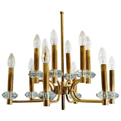 Brass and Glass Chandelier with Twelve Lights by Palwa, 1970s