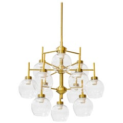 Brass and Glass Chandeliers by Holger Johansson for Westal, Sweden, 1960s