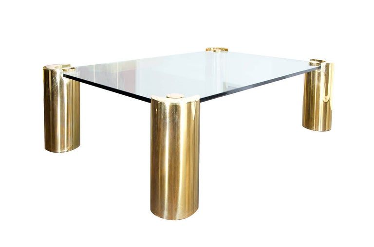 Monumental and spectacular brass and glass coffee table by Karl Springer (attributed) 1970s.