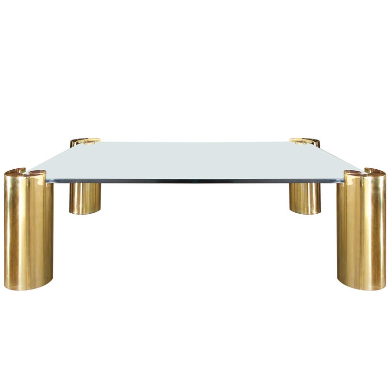 Brass and Glass Coffee Table by Karl Springer For Sale