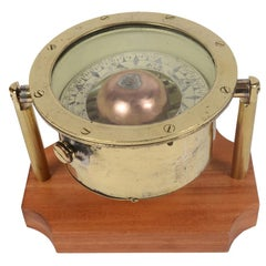 Brass and Glass Compass on a Mahogany Board, End of the 19th Century