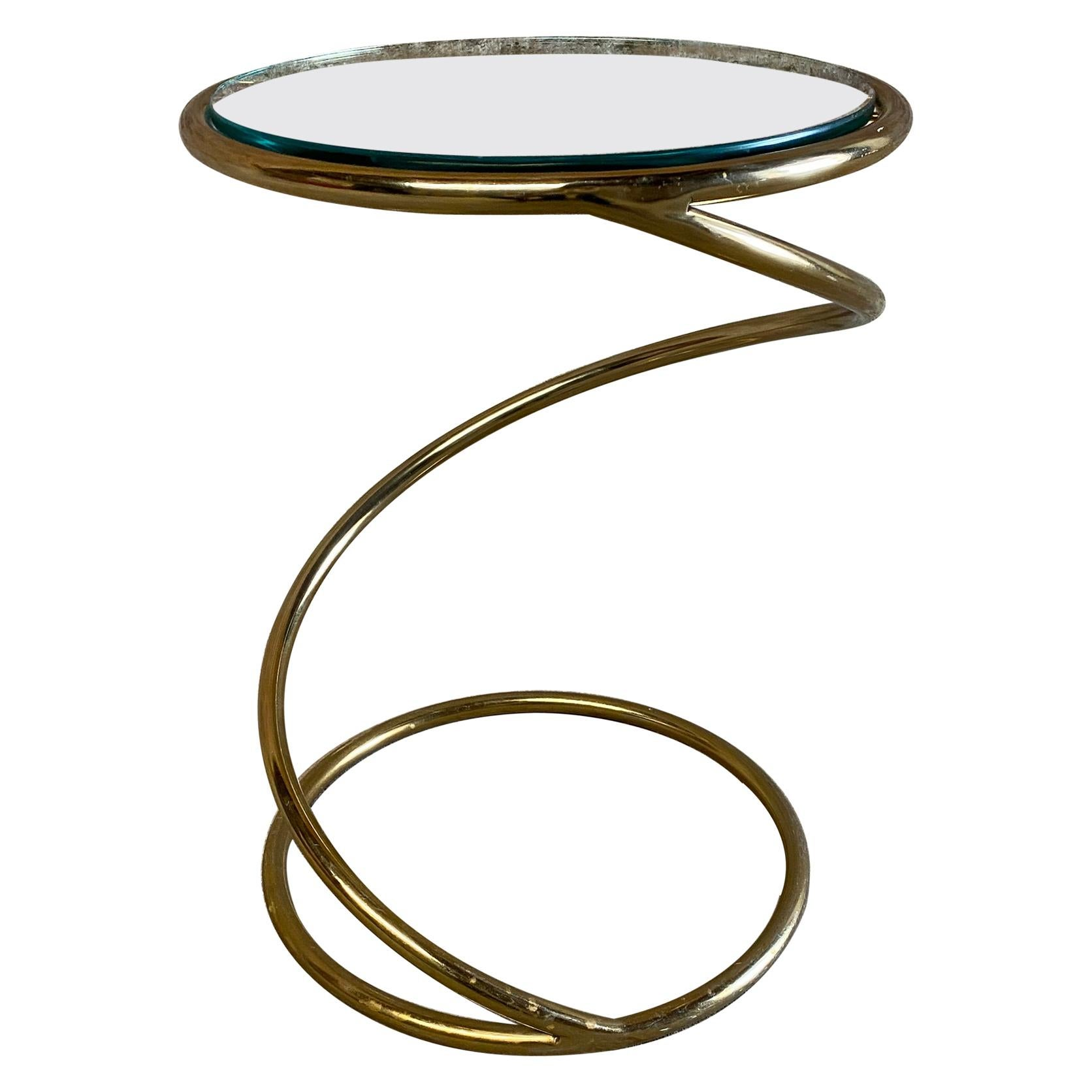 Brass and Glass Corkscrew End Table