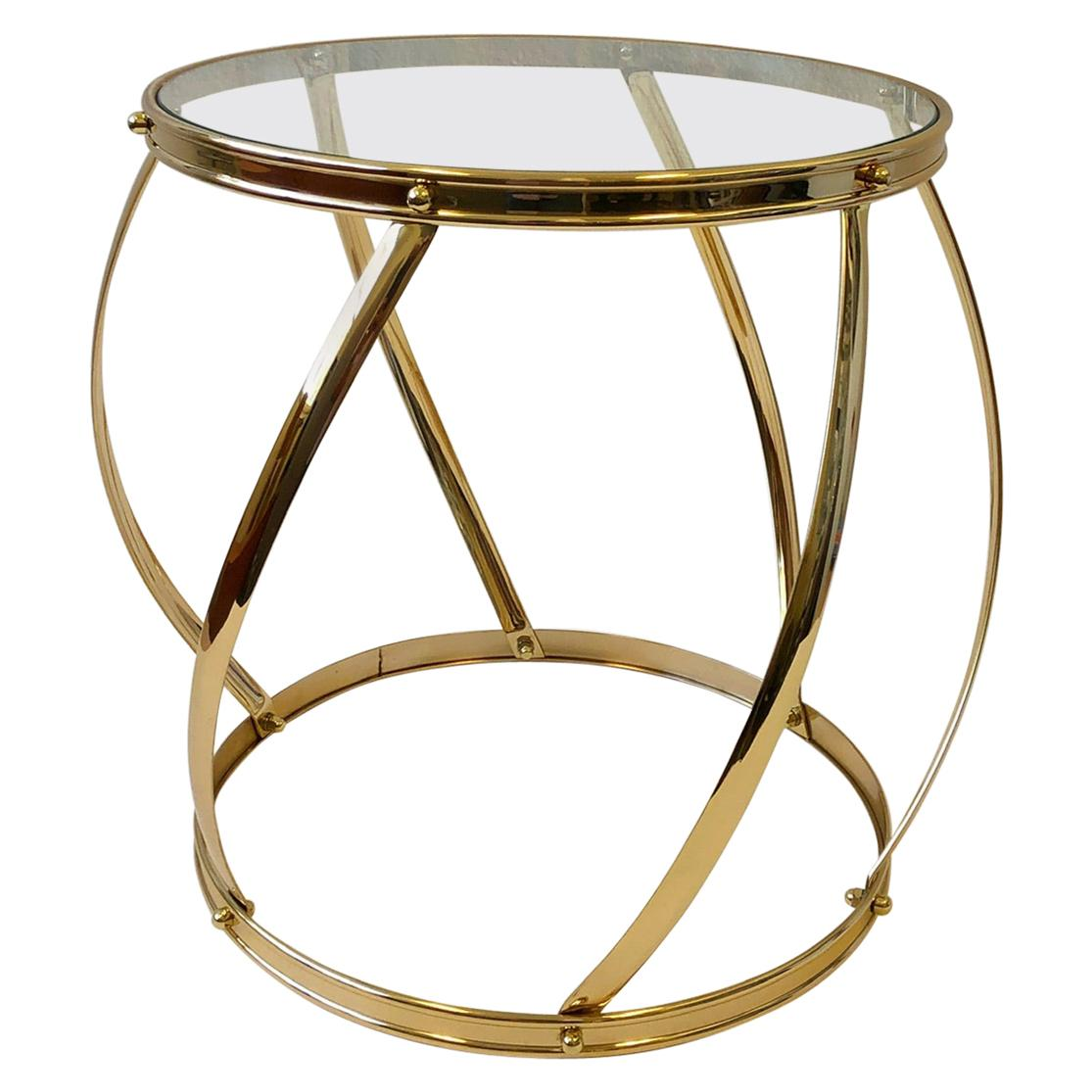 Brass and Glass Drum Side Table