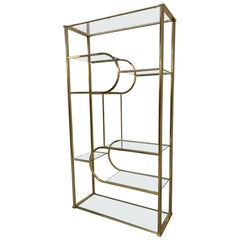 Brass and Glass Étagère in the Style of Milo Baughman