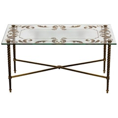 Brass and Glass Etched Coffee Table