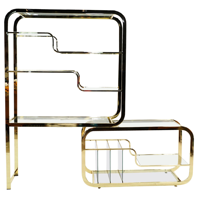 Brass and Glass Expandable Étagère / Display / Bookshelf, Style of Milo Baughman