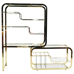 Brass and Glass Expandable Étagère / Display / Bookshelf, Style of Milo Baughman