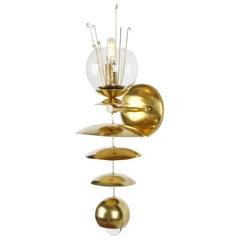 Brass and Glass Fleurish Sconce