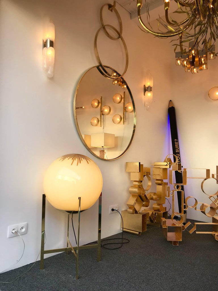 Brass and Glass Floor Lamp by La Murrina Murano, Italy, 1990s In Good Condition For Sale In SAINT-OUEN, FR