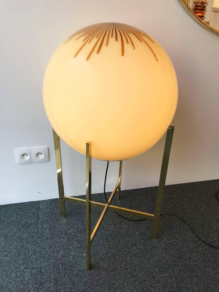 Brass and Glass Floor Lamp by La Murrina Murano, Italy, 1990s For Sale 1
