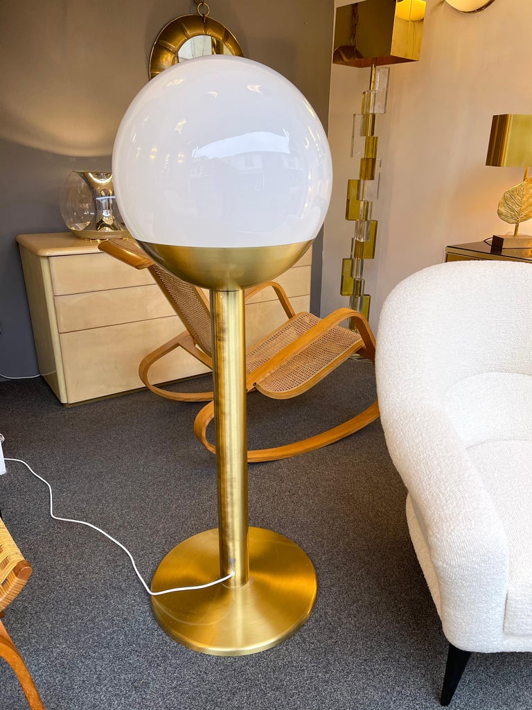 Italian Brass and Glass Floor Lamp P428 by Pia Guidetti Crippa for Luci, Italy, 1970s For Sale