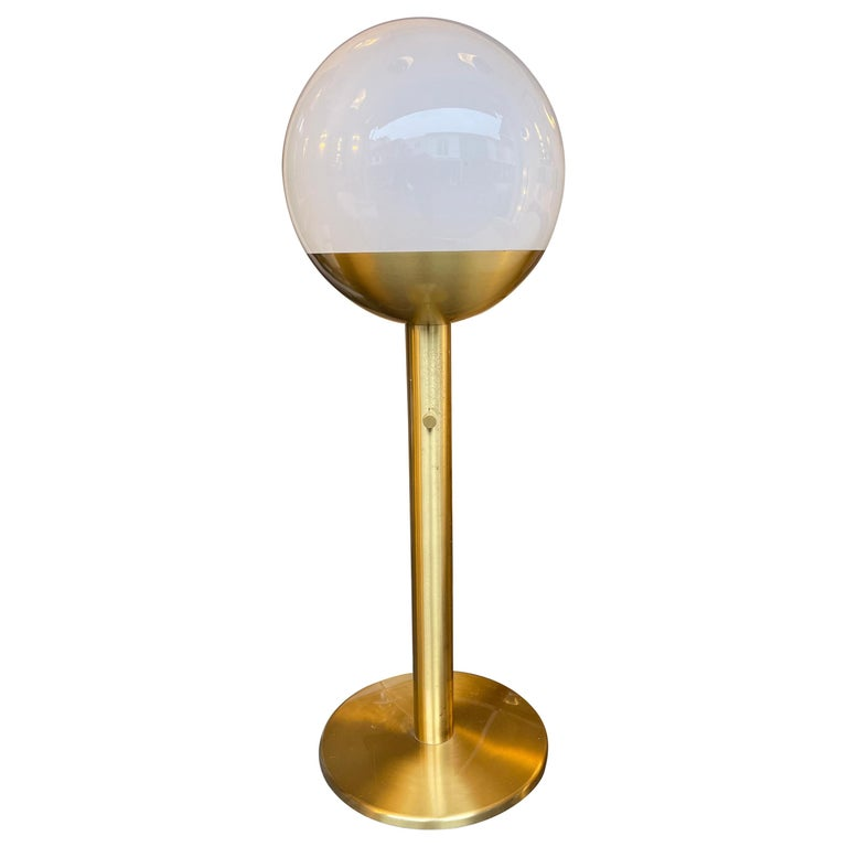 Brass and Glass Floor Lamp P428 by Pia Guidetti Crippa for Luci, Italy, 1970s For Sale