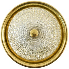 Brass and Glass Flush Mount Chandelier by Orrefors, Lyfa