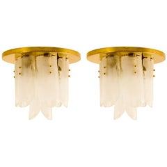 Brass and Glass Flush Mounts by J.T. Kalmar, 1960