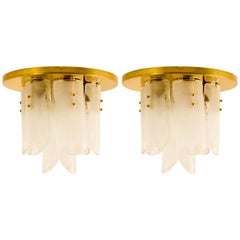 Brass and Glass Flushmounts by J.T. Kalmar, 1960