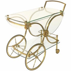 Brass and Glass French Drink Cart by Maison Charles