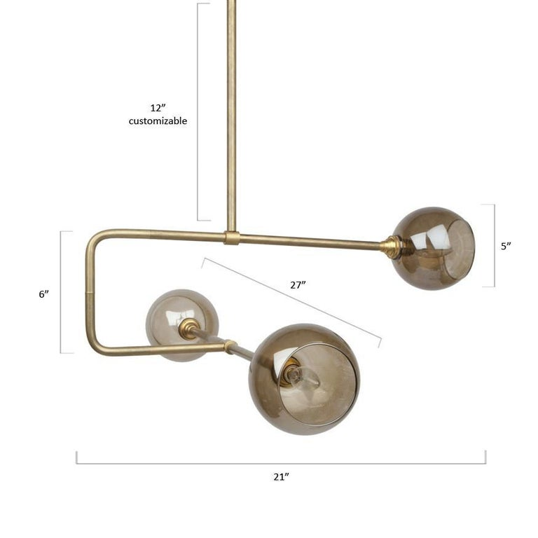 American Brass and Glass Globe Triple Circuit Pendant Light For Sale
