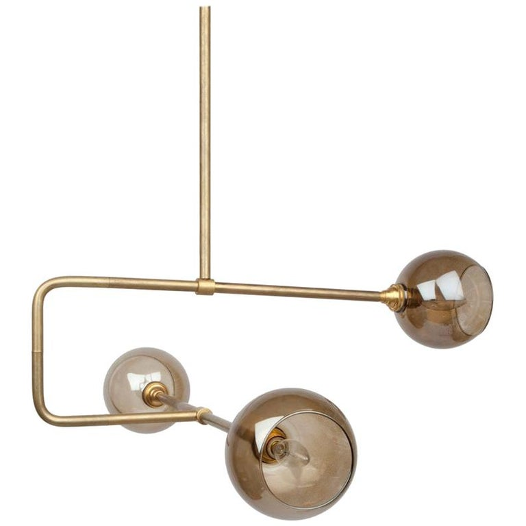 Brass and Glass Globe Triple Circuit Pendant Light For Sale