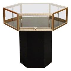 Brass and Glass Hexagonal Display Showcase Center Table, circa 1970s