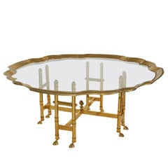 Brass and Glass Hollywood Regency Tray Cocktail Table after Labarge