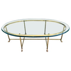 Brass and Glass Hooved Feet Coffee Table by La Barge
