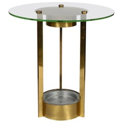 Brass and Glass Illuminated Art Deco Side Table Attributed to Dorothy Thorpe