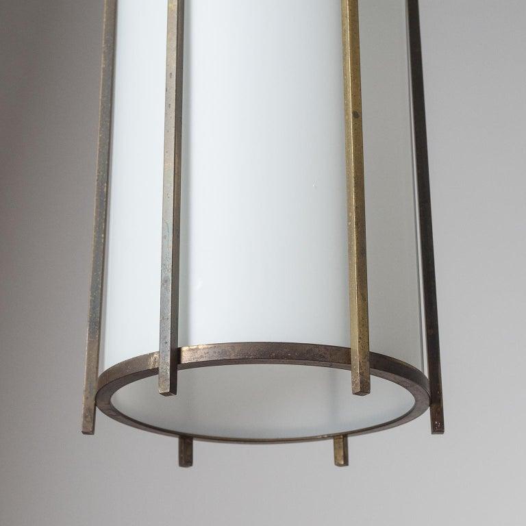Brass and Glass Lantern, circa 1940 For Sale 3