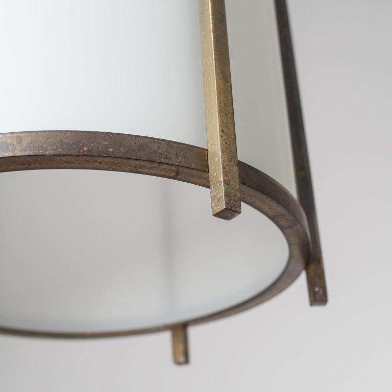 Brass and Glass Lantern, circa 1940 For Sale 4