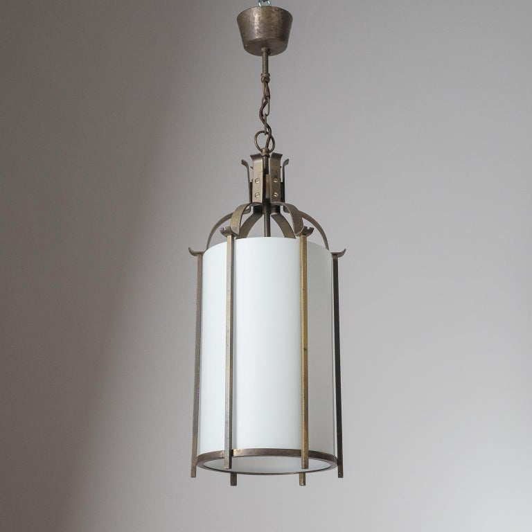 Brass and Glass Lantern, circa 1940 For Sale 7