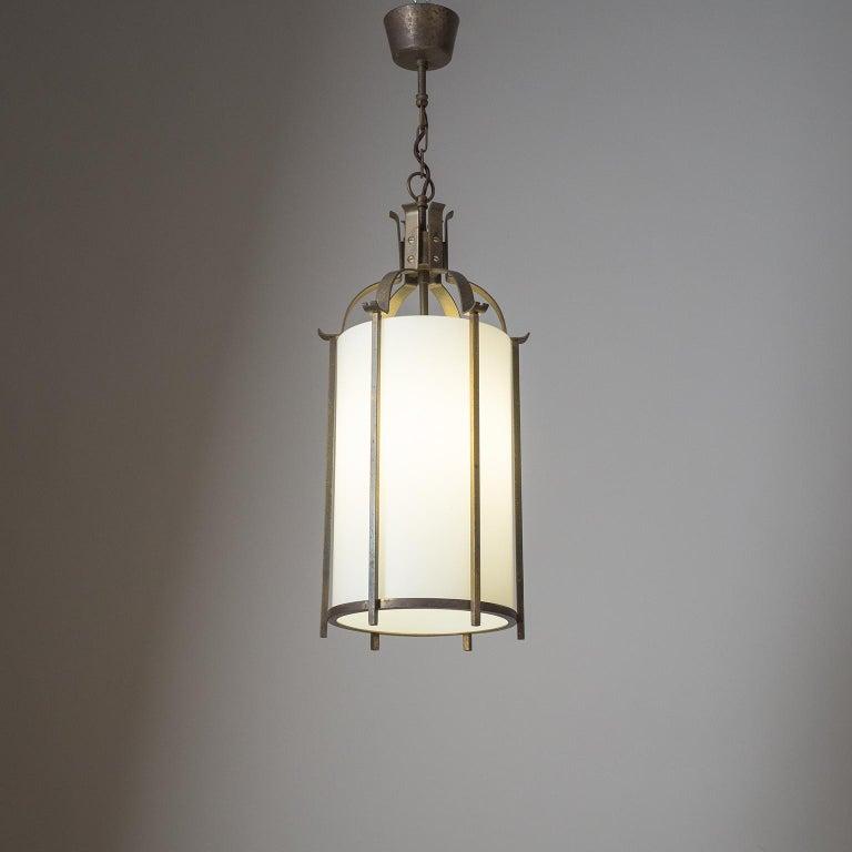 Brass and Glass Lantern, circa 1940 For Sale 8