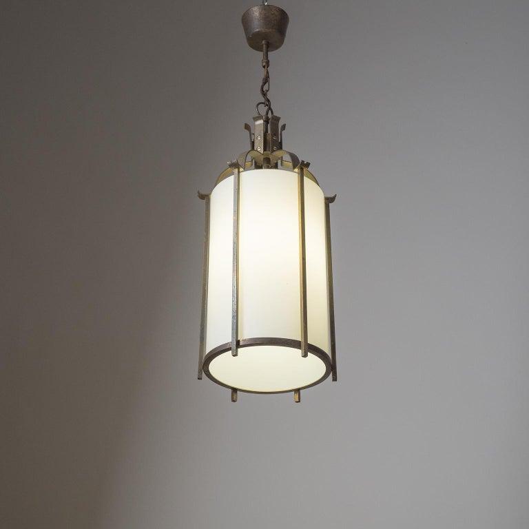 Brass and Glass Lantern, circa 1940 For Sale 9
