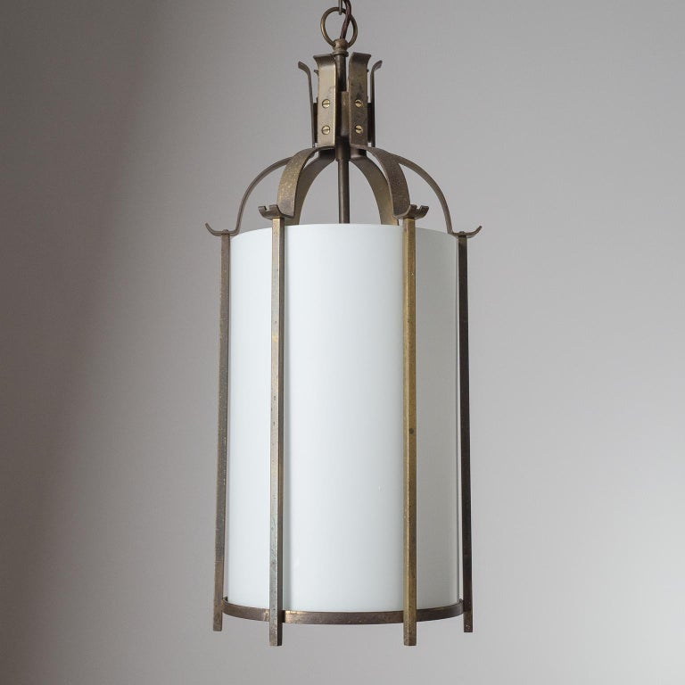 Mid-20th Century Brass and Glass Lantern, circa 1940 For Sale