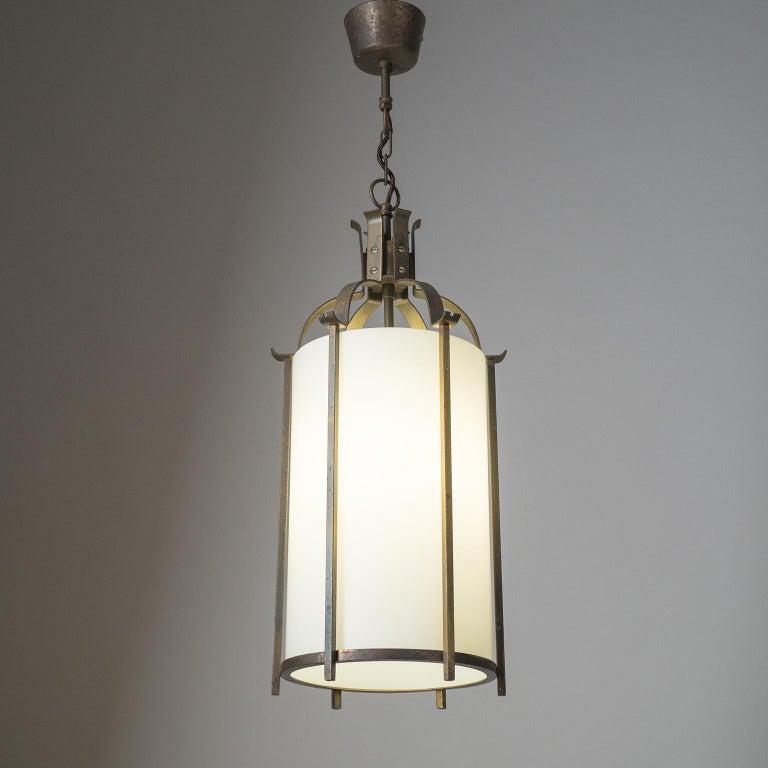 Brass and Glass Lantern, circa 1940 For Sale 2