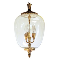 Brass and Glass Lantern, Italian, Three-Light