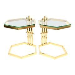 Brass and Glass Modernist Side or Drink Tables Vintage