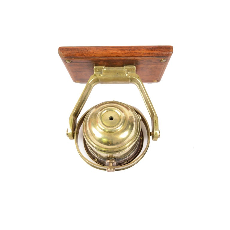 Brass and Glass Nautical Compass on Oak Wooden Board, London, 1860 For Sale 1
