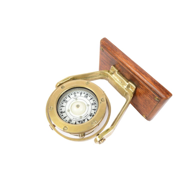 Brass and Glass Nautical Compass on Oak Wooden Board, London, 1860 For Sale 2