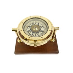 Brass and Glass Nautical Compass on Walnut Wooden Board, London, Early 1900s