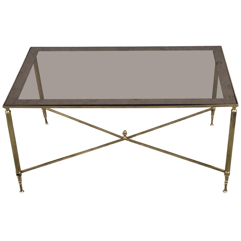 Brass And Glass Neoclassical Style Coffee Table