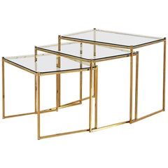 Brass and Glass Nesting Tables by Guy Lefevre for Maison Jansen, circa 1970
