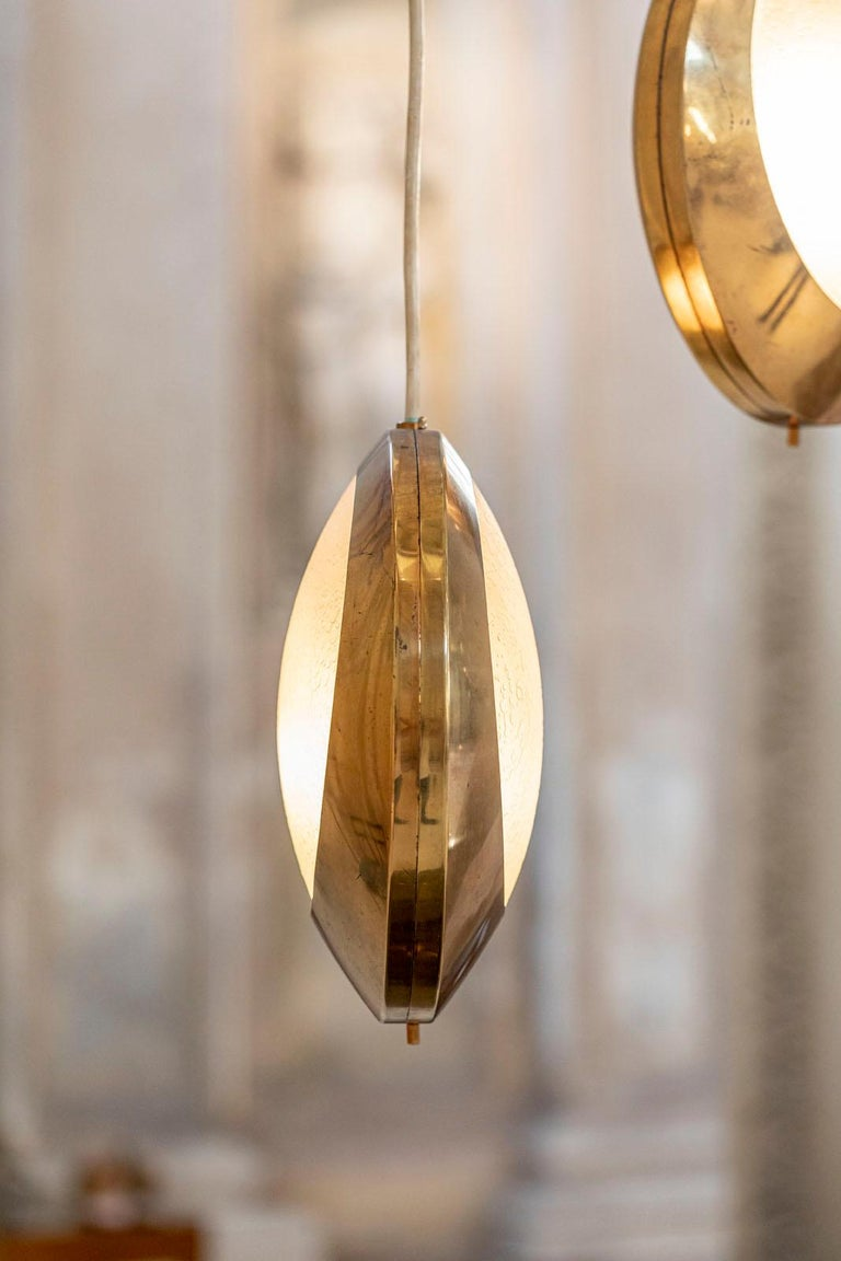 Brass and Glass Pendant by Stilnovo For Sale 9