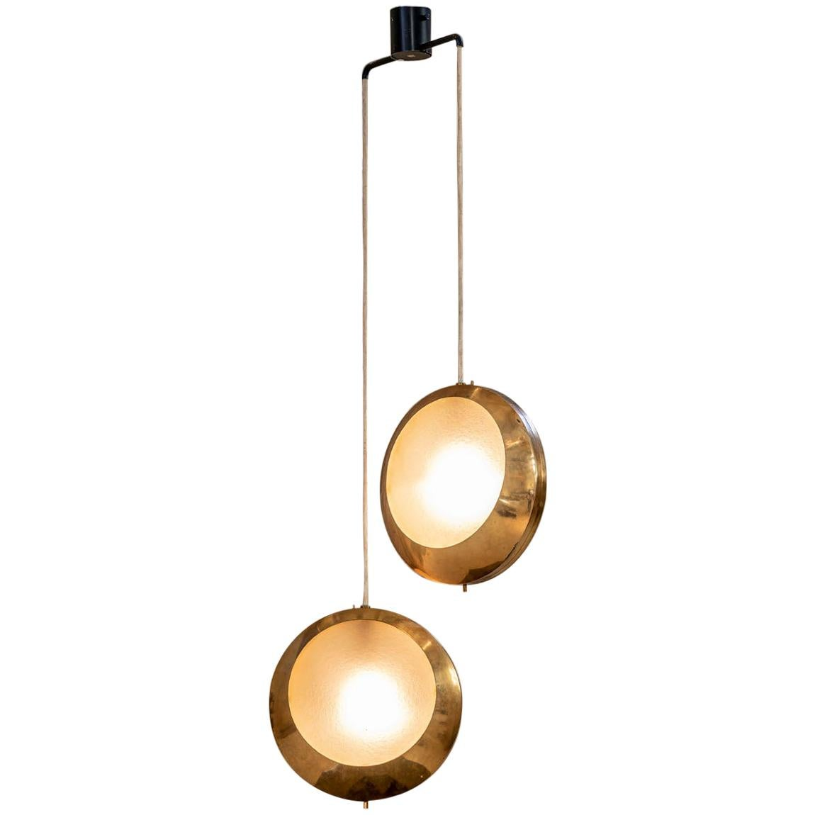Brass and Glass Pendant by Stilnovo