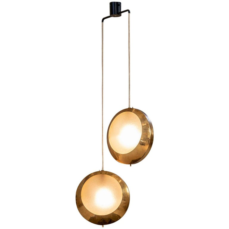 Brass and Glass Pendant by Stilnovo For Sale
