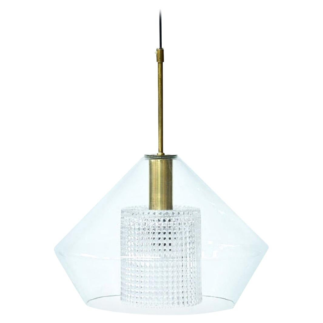 Brass and Glass Pendant Lamp by Carl Fagerlund for Orrefors, Sweden