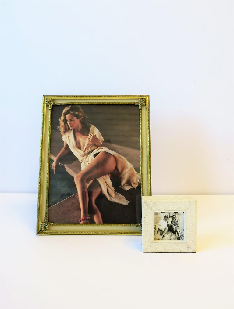 Polychromed Brass and Glass Picture Frame For Sale